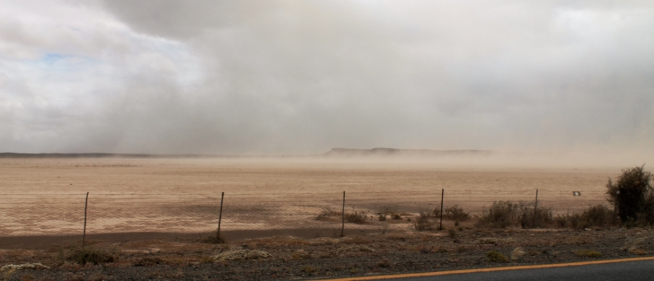 A dust storm so big it made the sheep stop bouncing