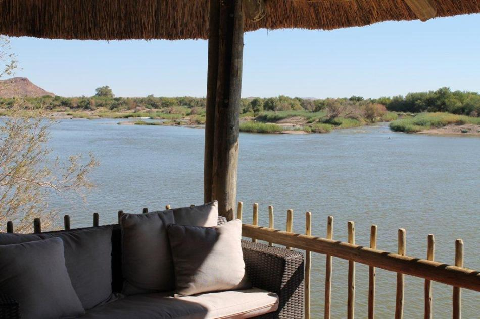 View over the Orange River from the bar at Khamkirri, welcome to paradise!