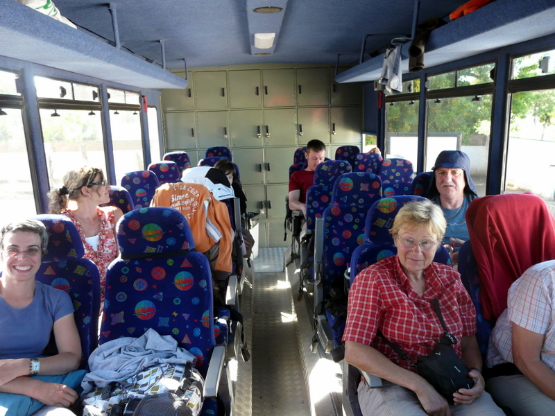 Inside our truck Ella with wonderful travel friends