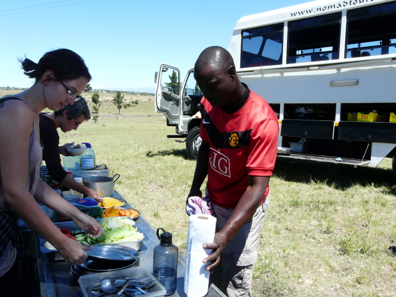 Getting involved and preparing lunch for the hungry travelers
