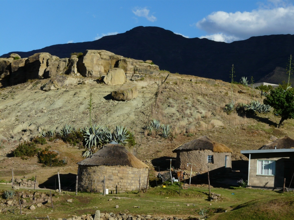 Basotho huts against the mountain