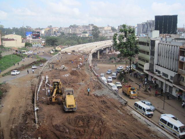 Construction work outside our hotel in Nairobi