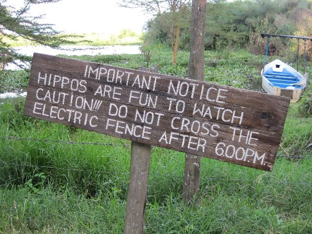 A warning about hippos at Lake Naivasha