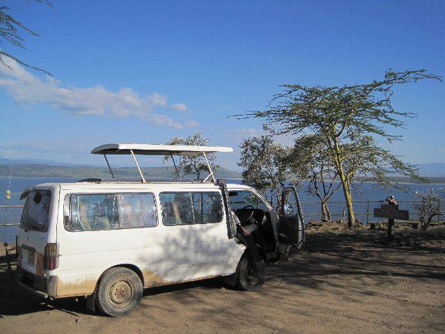 Our safari van with Lake Nakuru in the background
