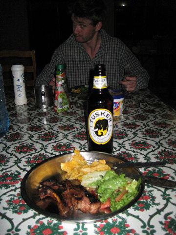 Yummy dinner time with Sean and a braai