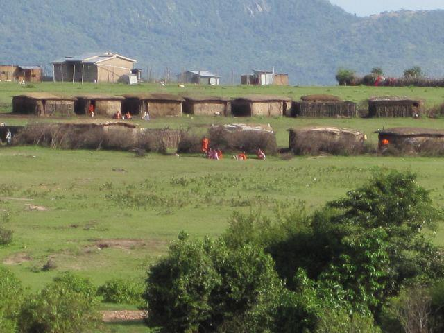 Driving past a Masai Village